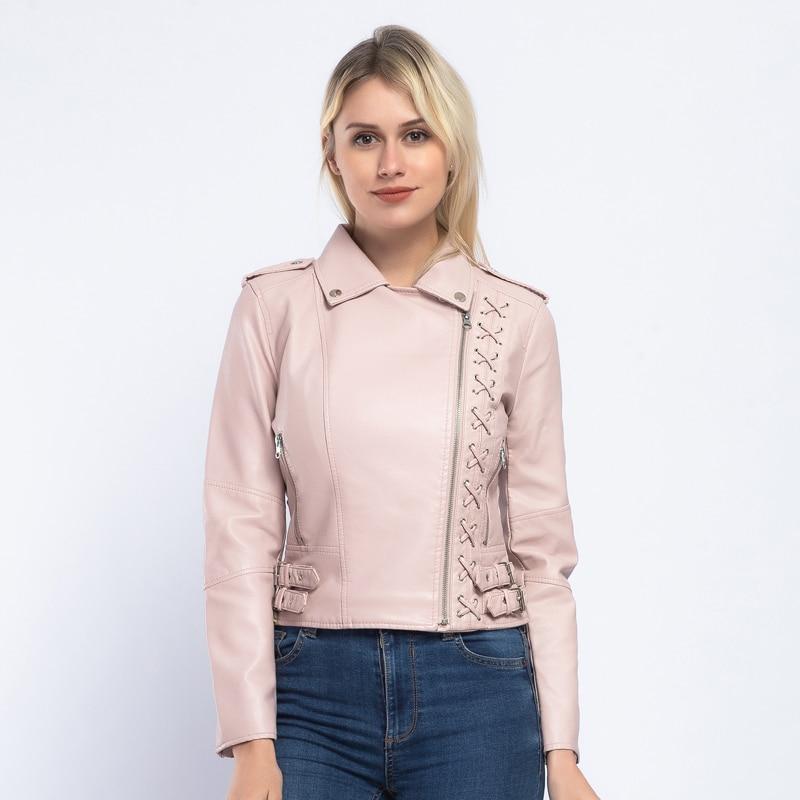 Brand 2019 Pu   Leather   Jacket Women Fashion Pink Motorcycle Coat Short Lace Up   Leather   Biker Jacket Soft Jacket Female AO902