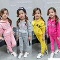 Novas Crianças Meninas fatos de Treino Casuais Meninas conjunto de Roupas Crianças Terno Esportes Das Meninas