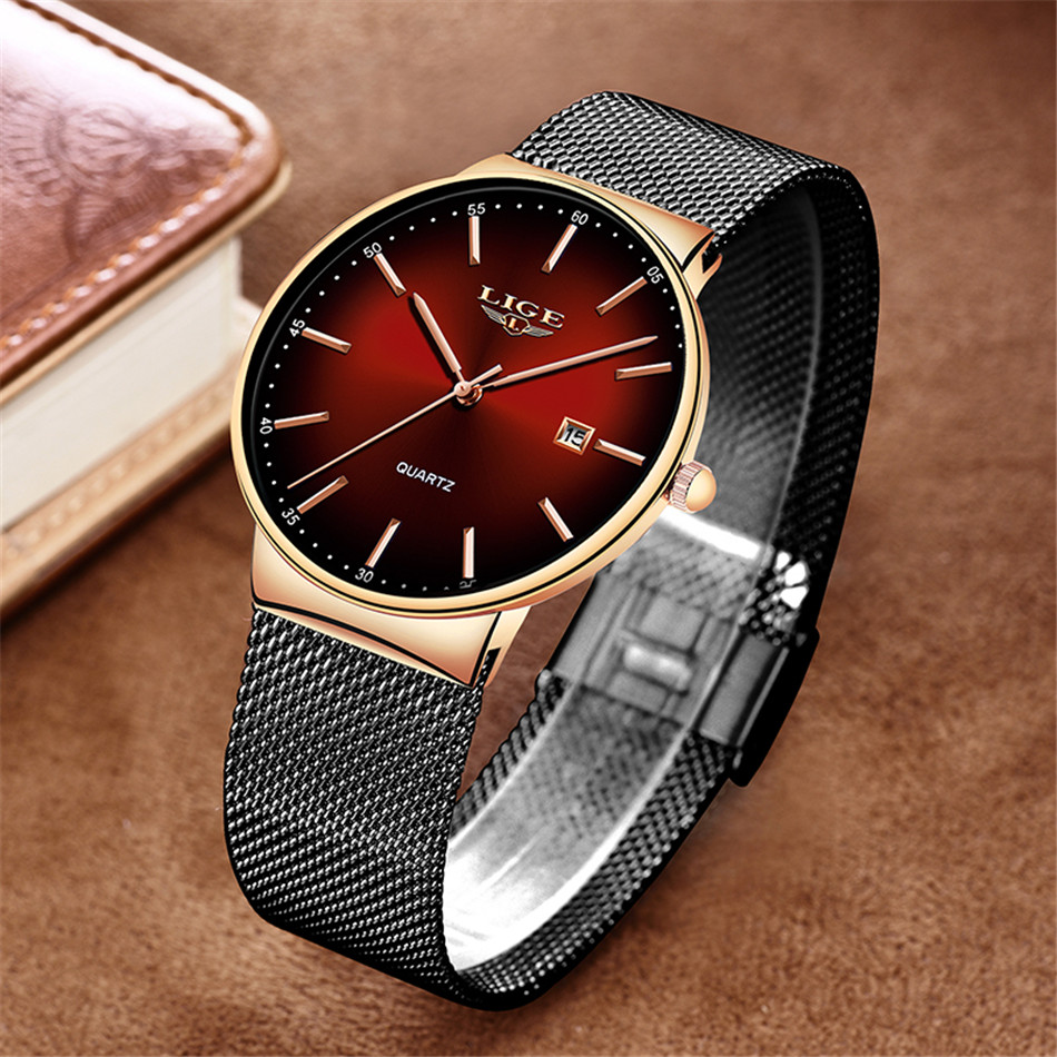 HTB15lwgQSzqK1RjSZFLq6An2XXaL LIGE New Mens Watches Top Brand Luxury Fashion Mesh Belt Watch Men Waterproof Wrist Watch Analog Quartz Clock erkek kol saati