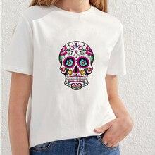 2018 Beautiful Skull Printing T shirt Women Fashion Streetwear t-shirt girls Summer Style top tees white t shirt