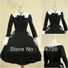 Freeship Black Cotton Classic long sleeve Gothic Lolita Dress victorian  dress cosplay Size US 6-26 XS-6XL V-921 815f9afb604e