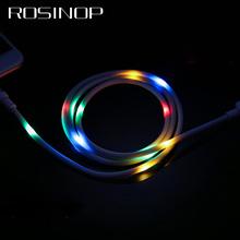 Rosinop 2.4A Fast Charging Music Control LED Glowing USB Cable For iphone Night Light Type C cabel samsung Micro