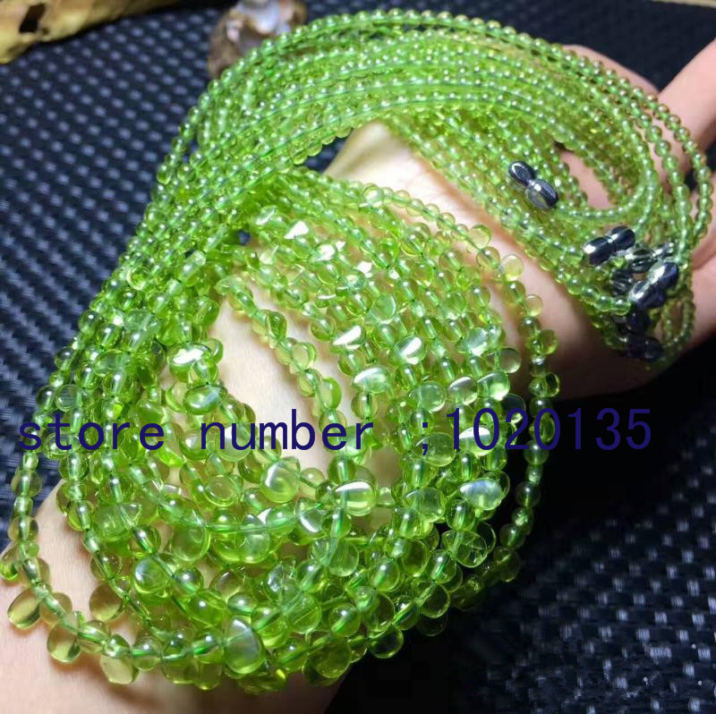 green peridot  stone  round drop 3-5mm   necklace 18 FPPJ wholesale beads nature