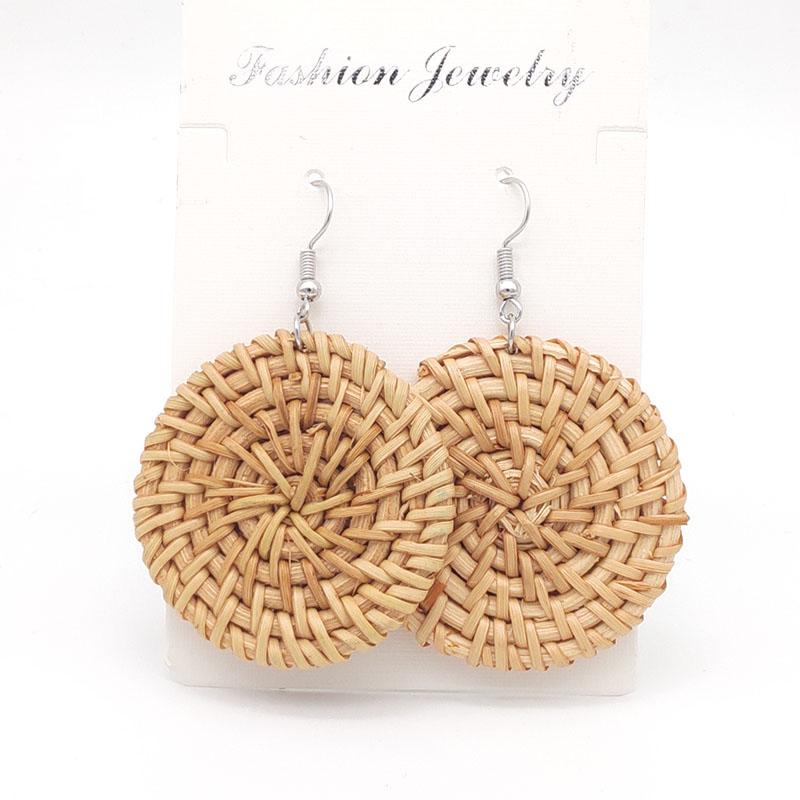 Bohemian Wicker Rattan Knit Pendant Earrings Handmade Wood Vine Weave Geometry Round Statement Long Earrings for Women Jewelry 21