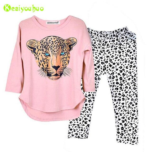 Детская Костюмы 2018 одежда на осень-зиму для девочек комплект футболка + леопардовые штаны 2 шт. Детский Комплект Спортивный костюм для девочек 5 6 7 8 9 10 лет