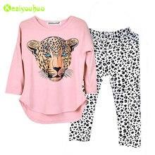 e194bccd28614 Vêtements pour enfants 2019 Automne Printemps Filles Vêtements Ensemble T- shirt + Pantalon Léopard 2 pcs Outfit Enfants Filles S..