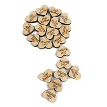 Pack of 50 Pcs Just Married Engraved Wood Wooden Love Heart Wedding Party Bridal Shower Table Decoration Confetti Crafts