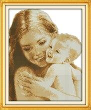 Madre y Hijo de Profundo amor Costura, DMC Kit de punto de Cruz, punto de Cruz Set, Para El Bordado, Bebé impreso punto de Cruz, Hecho A Mano DIY