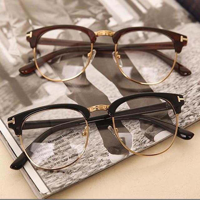 Nueva moda hombre mujer marco del espejo del llano gafas Nerd Geek ...