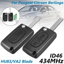 Nova 434 MHz 2 Botões de Desbloqueio de Bloqueio HU83 VA2 Remoto Chave w/ID46 Chip Para Peugeot/Citroen Berlingo