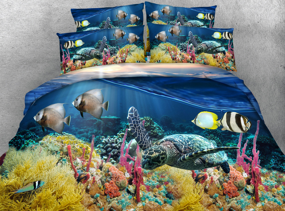 3D Printed Bedding Sets Twin Full Queen Super Cal King Size Bed Bedspread Comfortr Duvet Covers Under the Sea Fish Turtle Blue