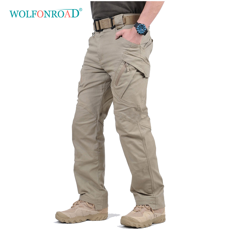 WOLFONROAD Pants Outdoor Trousers Hiking Army Camping IX9 Men Multi-Pockets Military