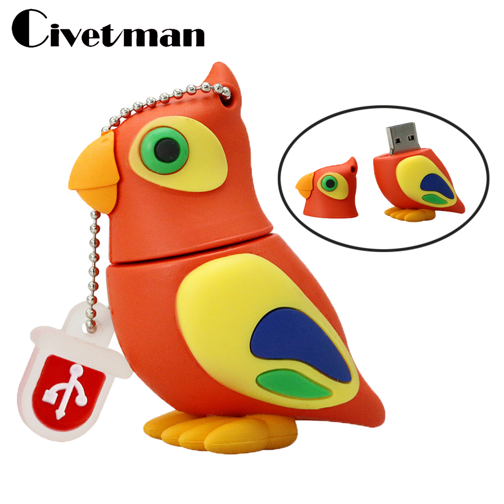 Pen Drive Cartoon Parrot Animal USB Flash Drive 4GB 8GB 16GB 32GB 64GB Pen Drive Birds Pendrive Gift Hard Disk USB Memeory