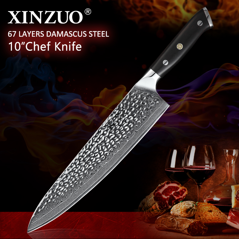 XINZUO 10'' inch Chef Knife Japanese VG10 Damascus High Carbon Stainless Steel Knife Kitchen Cooking Tools with Ebony Handle