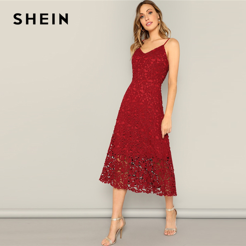 SHEIN Glamorous Burgundy Lace Overlay Cami Long Summer Dress Women Casual 2019 Summer Morden Lady Sleeveless Streetwear Dresses