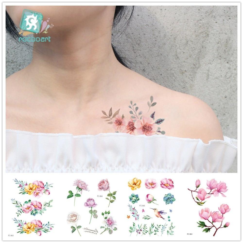 Rocooart Flower Temporary Tattoos For Women Hand Tattoo Sticker Fashion Body Art Waterproof Arm Fake Tatoo Paper 10.5X12cm FC