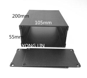 10 шт. алюминиевая коробка/алюминиевый корпус усилителя 105*55-200 корпус/черный