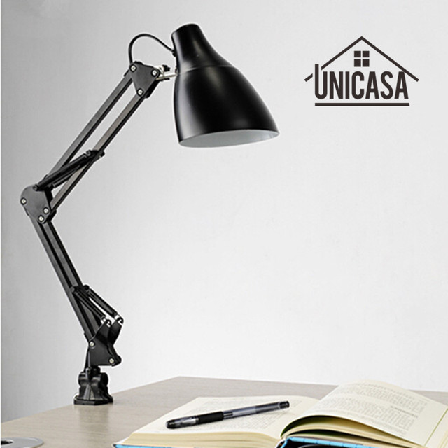 Adjule Clip Table Lights Bedside Desk Top Lamp Bedroom Black Lamps Office Light Libraly Porch Lighting Fixtures