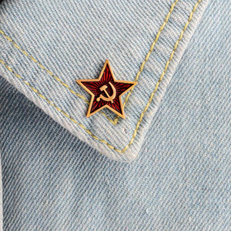 Perang Dunia II WW2 Bros Militer Jerman Eagle Pin Bendera Rusia Uni Soviet Bintang Merah Pins Lencana Logam Bros Cap Cockatiel Pria 'S Jewelry
