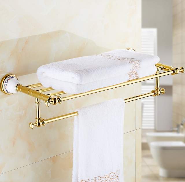 2016 Luxury Gold Design Towel Rack,Modern Bathroom Accessories Towel Bars  Shelf ,Ceramic Base