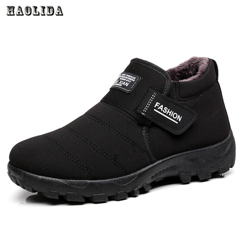 Новинка 2017 года Мужские ботинки зимние бархатные теплые зимние сапоги Мужская обувь модные мужские зимние ботильоны на резиновой подошве работы Обувь