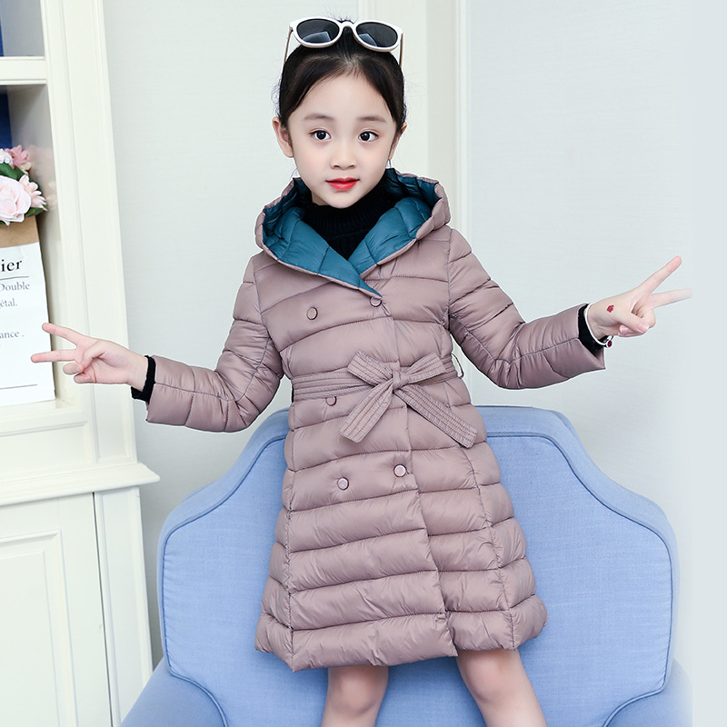 2020 Winter Cotton Childrens Hooded Down Graceful Solid Warmer Down Jacket for Girls Cotton-Padded Girls Clothes Kids Outerwear