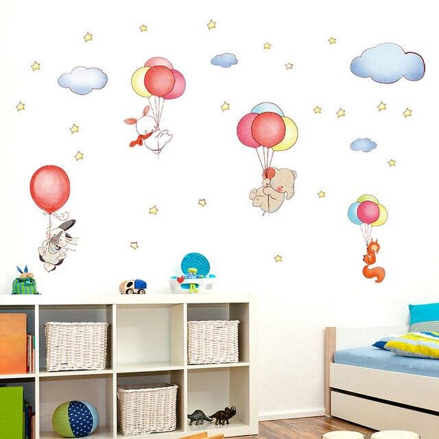Cartoon Animal Balloon Cloud Wall Sticker Children's Baby Bedroom Kids Rooms Home Decor Wall Decal adesivos de parede