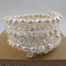 Perfect Pearl Jewelry Wrap Bracelet Nice Crystal Beads Natural Freshwater Pearl Bracelet 5-9mm Fashion Woman Wedding Party Gift