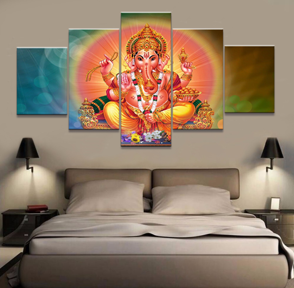 Home Decor Print Framework Painting Elephant God Vintage Art Canvas Wall Modular Picture 5 Panel Ganesh For Living Room