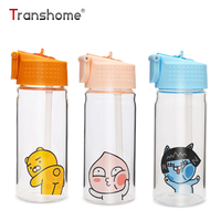 Transhome Glass Water Bottle With Straw Transparent Cute Peach Water Bottles Beverage Tea Juice Cup