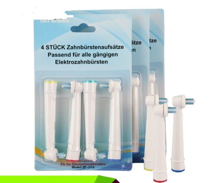 12 шт. = 3 пакеты ip-17a Замена для Braun Oral B Головки для зубных щёток начинаются с серии d Круглый глав мягкой щетиной чистый 3D