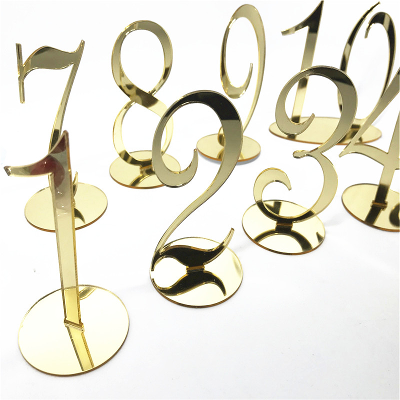 Personalized Wedding Table Numbers Acrylic Mirror Gold Table Number Stand Wedding Decoration Christmas Party Table Sign
