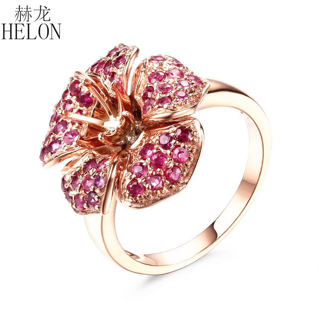 HELON Solid 14K Rose Gold 6mm Round Cut Semi Mount 1.3ct Genuine Rubies Gemstone Ring Antique Fine Engagement Wedding Ring