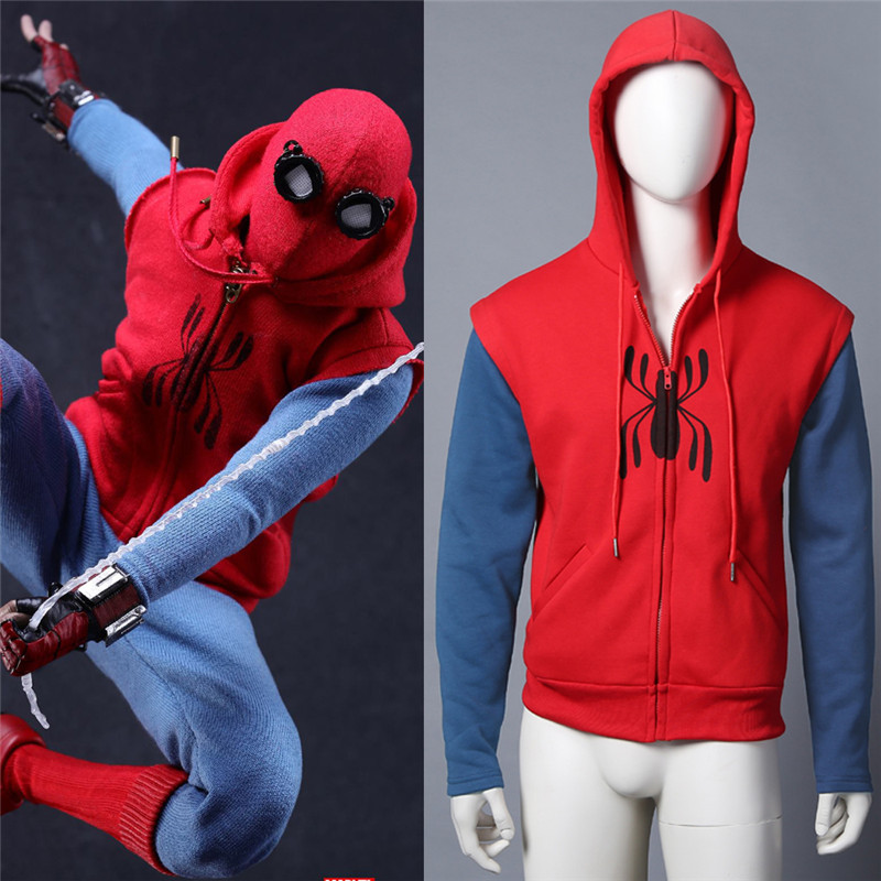 2017 Spiderman Homecoming Cosplay Coat Hoodie Spiderman Peter Parker Hoodie Zipper Mens Sweater Halloween Costume