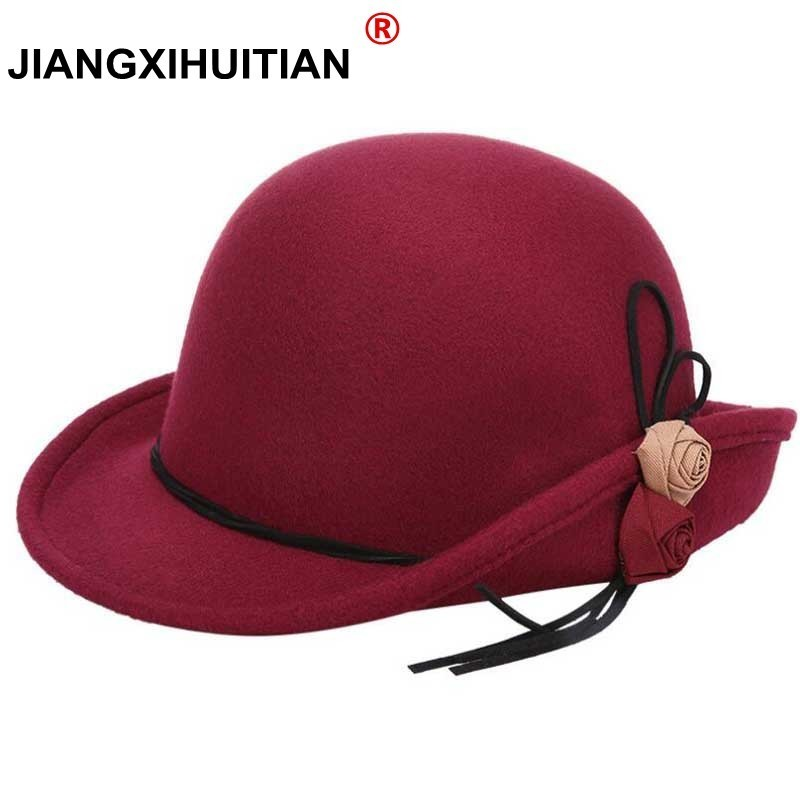 Women's Style Autumn Winter Women's Women's Hats Fall-Winter Hats For Women  Woolen Felt Fedor Fedora Vintage Flowers Ladies Cap