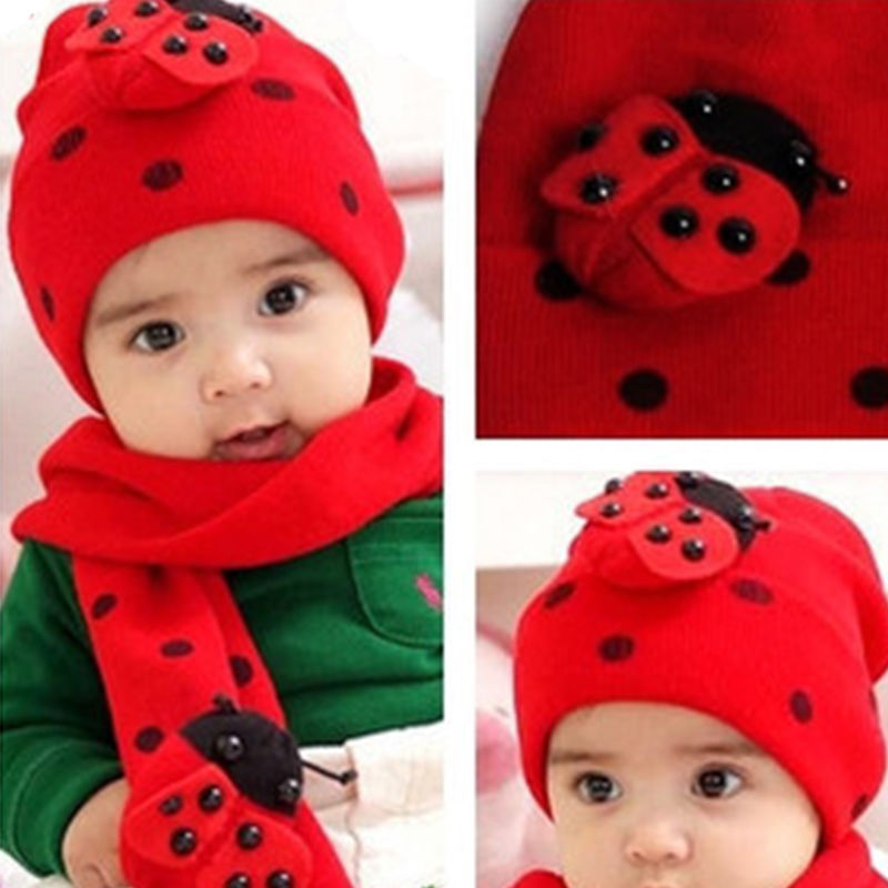 New Arrival Boys Girls Hat Scarf Set Cute Knitted Cotton Hats For 8 Month To 2 Years Old Winter Warm Hats