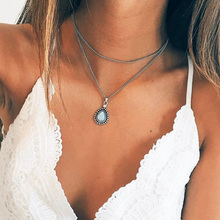 vintage silver color drop stone pendant necklace women girl jewelry