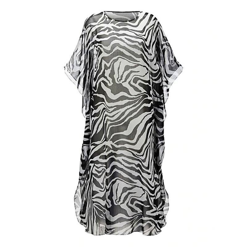 Womens Chiffon Zebra Stripes Digital Printing Bikini Cover Up Half Sleeves Semi Sheer Side Split Maxi Dress Scoop Neck Oversized in Cover Ups from Sports Entertainment