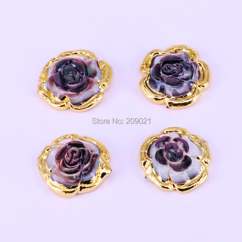Fashion 6Pcs Gold Color Nature Shell Carved Flower spacer beads,charm shell connector beads, women jewelry acessories