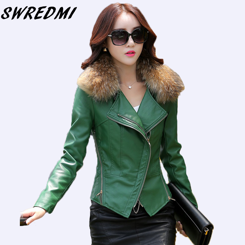SWREDMI Spring Autumn Real Fur Women's Leather Jacket Slim Motorcycle Outerwear Coats Female Short Leather Coat Fashion Suede