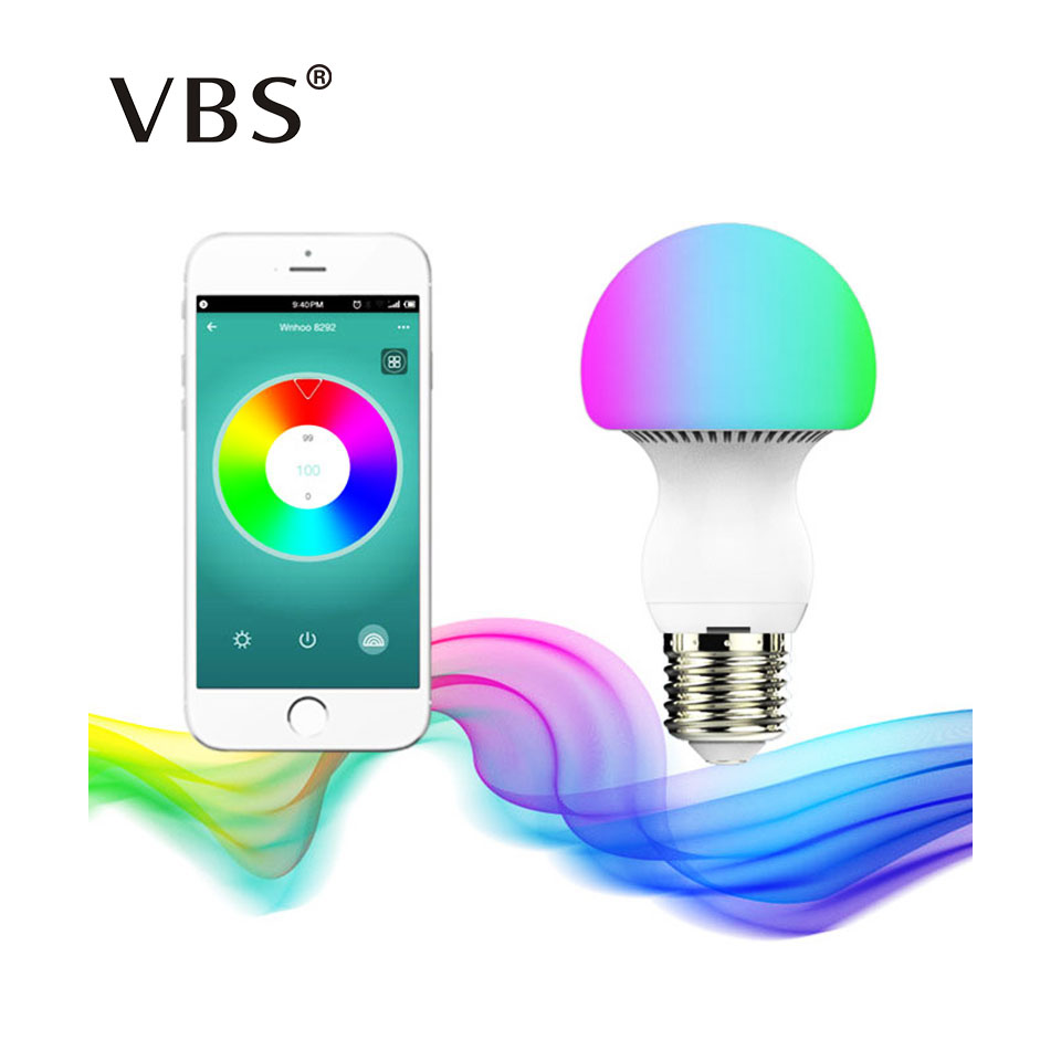 Bluetooth E27 LED Bulb RGBW 6W Bluetooth 4.0 Smart Mushroom Lamp Bulb Changeable Colors By IOS / Android APP Dimmable Led Lamp smart dimmable mushroom led bulb household intelligent lighting rgb e27 600lm ac85 265v switchable for ios and android