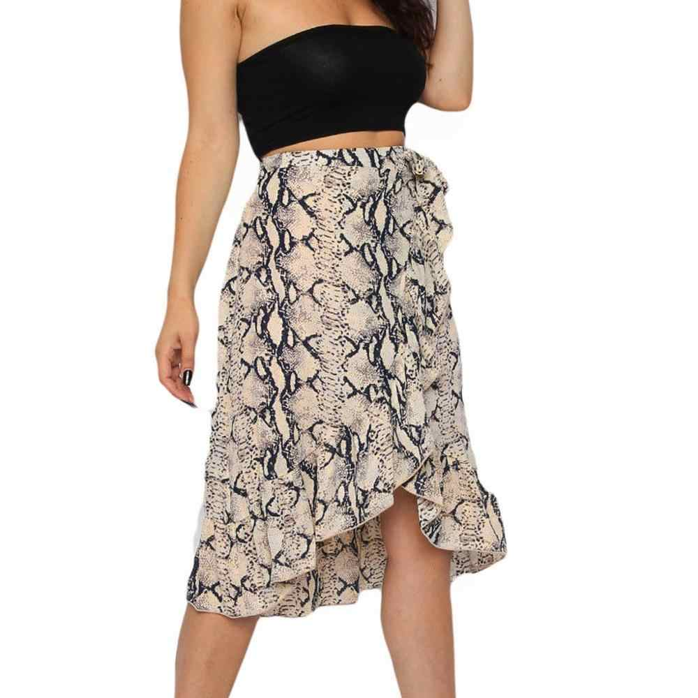 Women Shirt Female High Waist Skirt Womens Ladies High Fashion Tie Bow Ruffle Hem Snake Print Frill Wrap Midi Skirt Ad