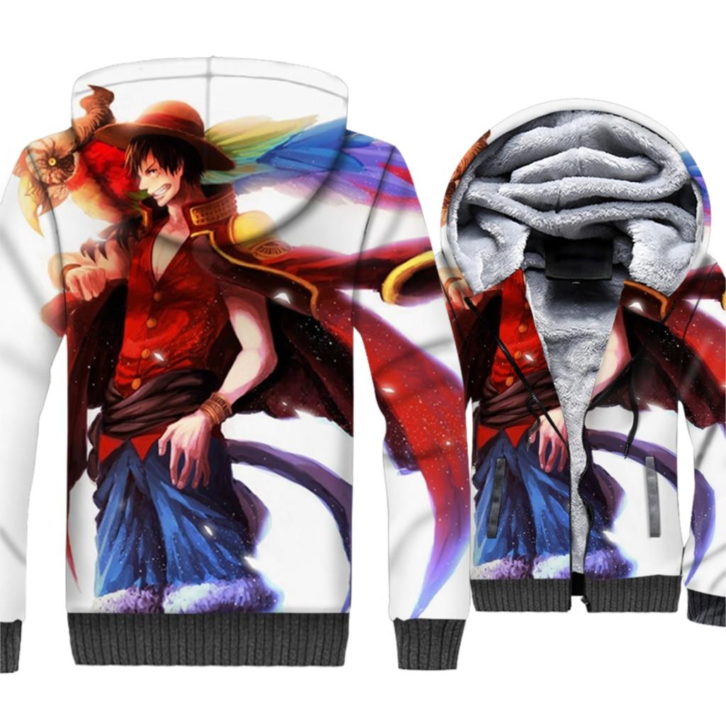 Luffy Jacket Japan Anime One Piece 3D Printing Hoodie Men Harajuku Sweatshirt Winter Thick Fleece Zip up The Pirate King Coat