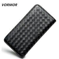 VORMOR 2018 Luxury Brand Men Wallets Long Men Purse Wallet Male Clutch Leather Zipper Wallet Men