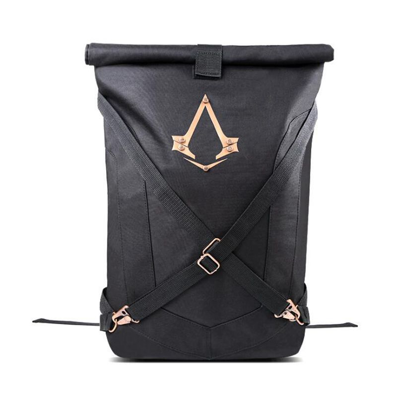 New Arrivals Assassins Creed Syndicate Logo Official Black Folded Backpack Bag Cosplay Knapsack Mochilas School Bag assassins creed cosplay backpack men school bags official assassins creed syndicate logo school backpacks bag rucksack