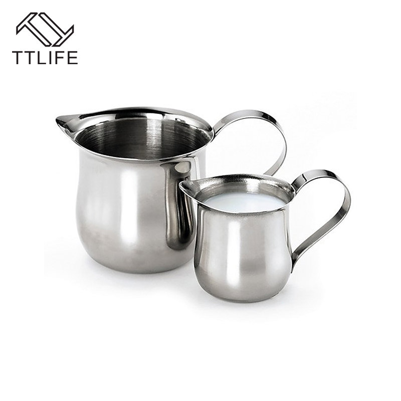 TTLIFE Stainless Steel Coffee Milk Cup Frothing Pitcher 60/90/150/240ml Oz Barista Craft Milk Frothers Latte Art Pull Flower Cup