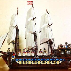 1717 шт., пиратский корабль, имперский военный корабль, флагманские наборы лодок, модели, строительные блоки, наборы кирпичей, игрушки, подарки...