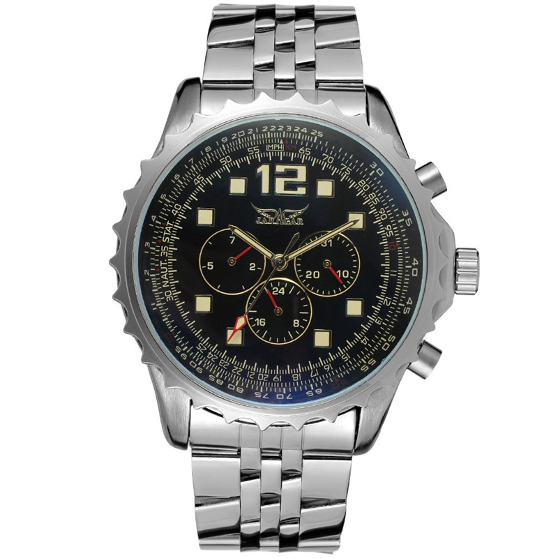 JARAGAR Auto Date Day 24 Hour Display Mechanical Mens Watches Relogio Masculino Male Relojes guanqin men auto mechanical watch water resistance luminous pointer date 24 hour display transparent back cover wristwatch