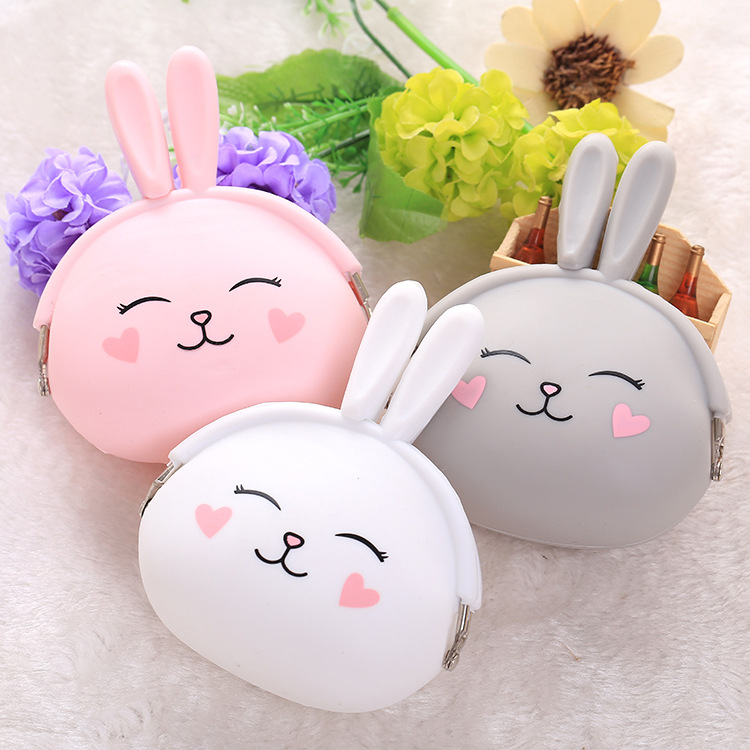 longmiao Women Cute Rabbit Cartoon Silicone Coin Purse Small Mini Key E