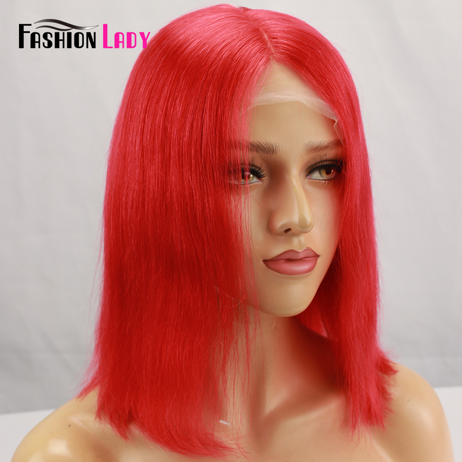 Fashion Lady Pruiken Pre-Colored Red Brazilian Human Hair Lace Front Wigs 13x6 Lace Frontal Middle Part Wigs Hot Bob Wig